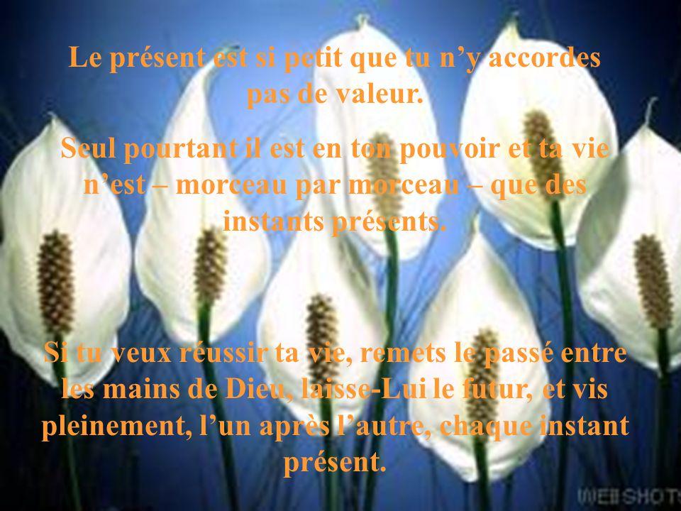 Le présent est si petit que tu ny accordes pas de valeur. Seul pourtant il est en ton pouvoir et ta vie nest – morceau par morceau – que des instants