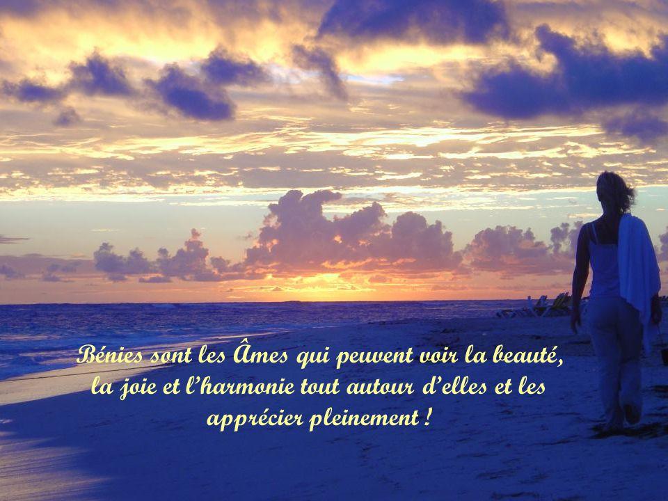 Bénies sont les Âmes qui peuvent voir la beauté, la joie et lharmonie tout autour delles et les apprécier pleinement !