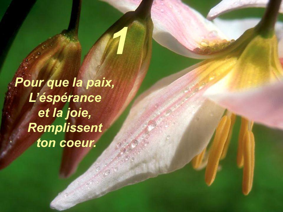 Pour que la paix, Léspérance et la joie, Remplissent ton coeur. 1
