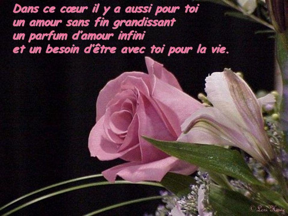 Dans ce cœur il y a aussi pour toi un amour sans fin grandissant un parfum damour infini et un besoin dêtre avec toi pour la vie.