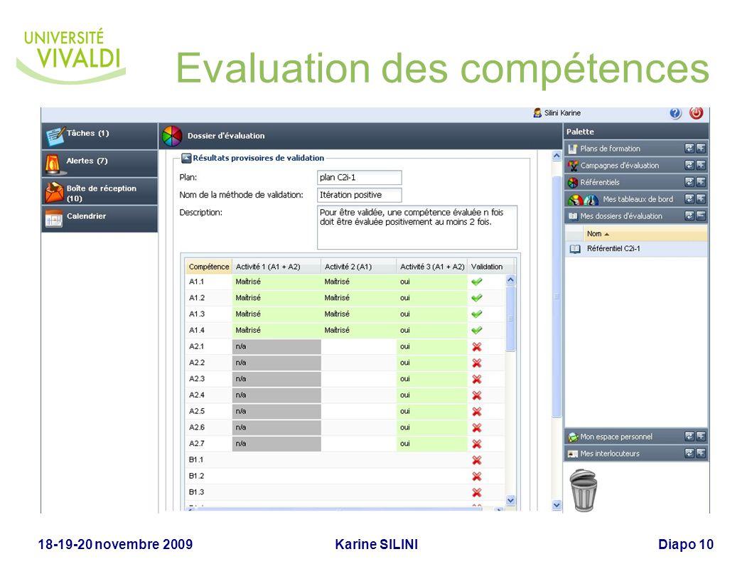 Karine SILINI18-19-20 novembre 2009Diapo 10 Evaluation des compétences