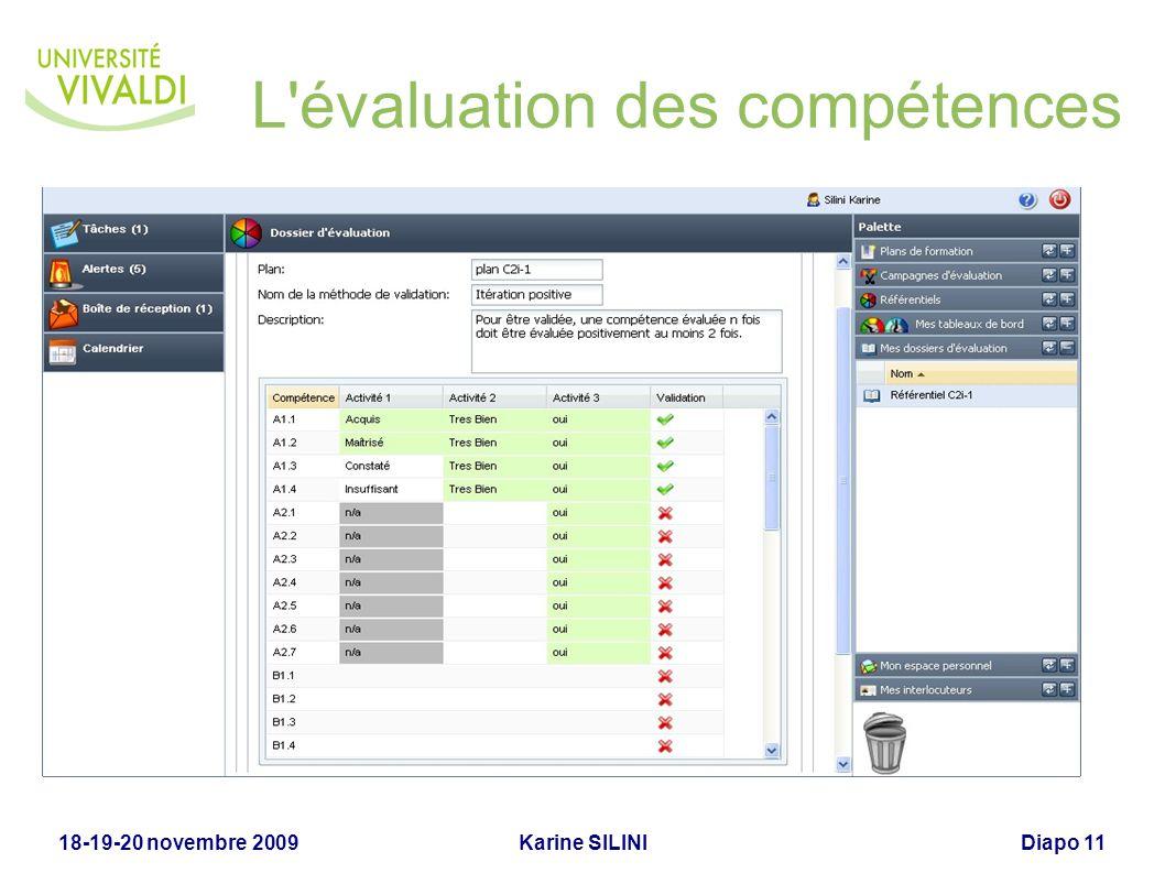Karine SILINI18-19-20 novembre 2009Diapo 11 L'évaluation des compétences