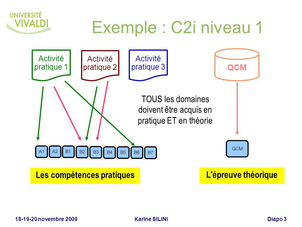 Karine SILINI18-19-20 novembre 2009Diapo 3 Exemple : C2i niveau 1 Activité pratique 1 B4B5B6 B7 A1A2B1 B2 B3 Activité pratique 2 Activité pratique 3 Q