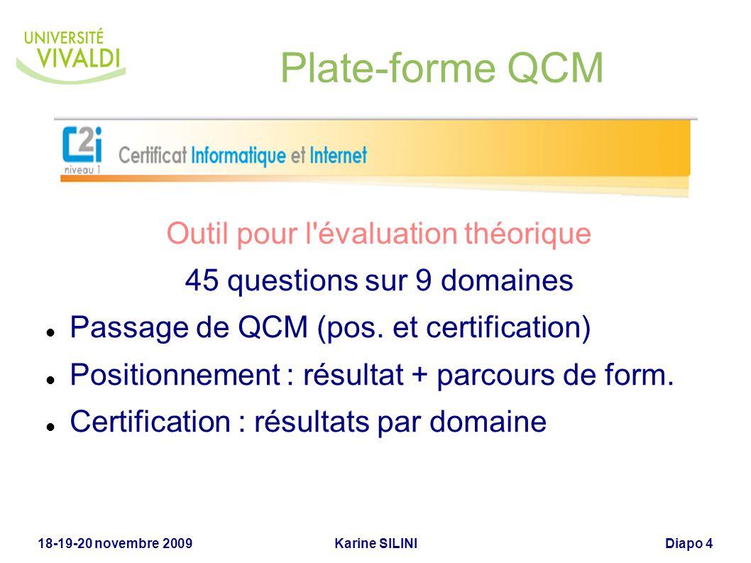 Karine SILINI18-19-20 novembre 2009Diapo 4 Plate-forme QCM Outil pour l'évaluation théorique 45 questions sur 9 domaines Passage de QCM (pos. et certi