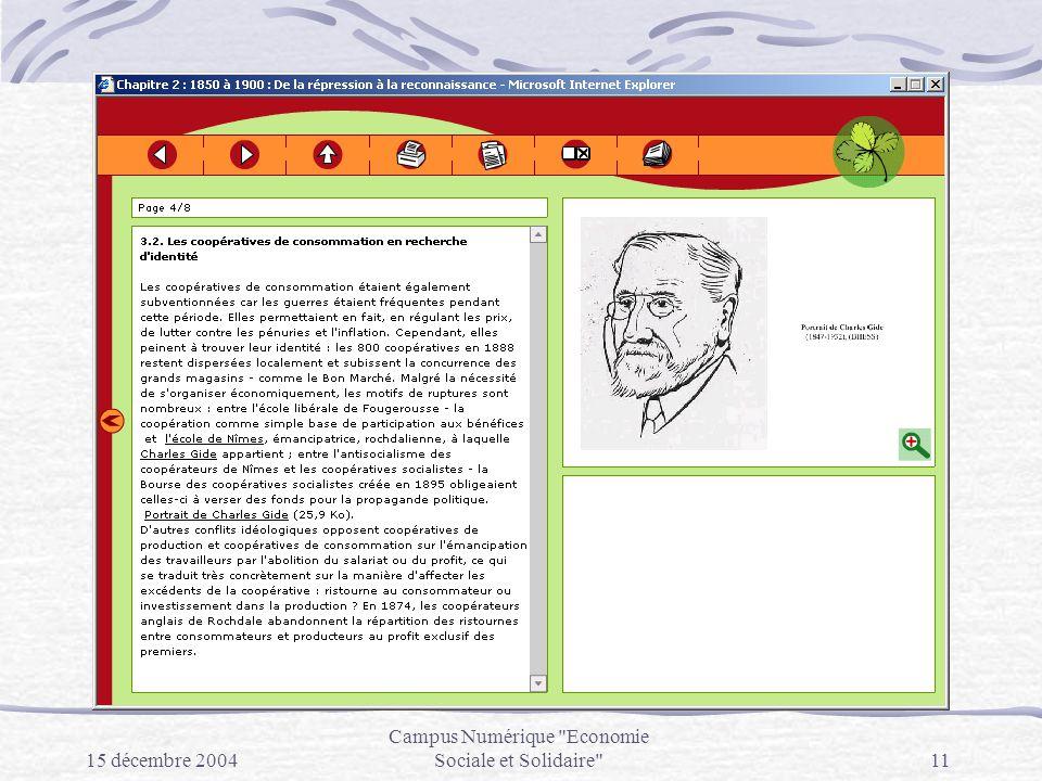 15 décembre 2004 Campus Numérique Economie Sociale et Solidaire 11