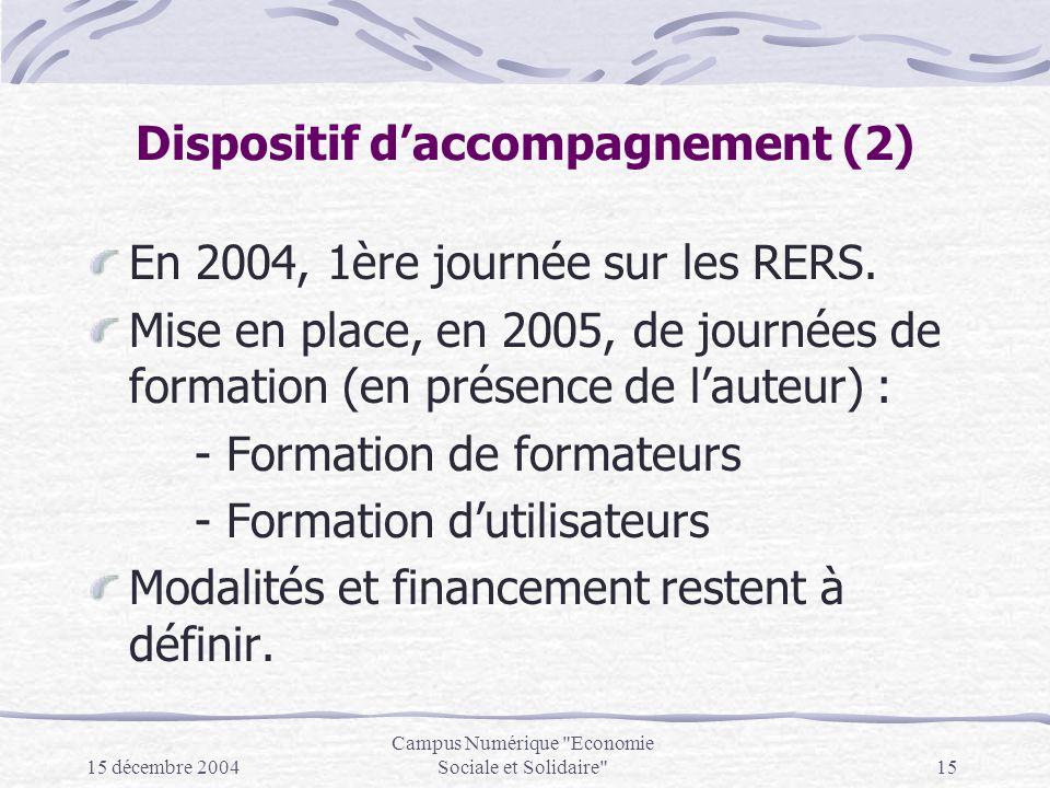 15 décembre 2004 Campus Numérique Economie Sociale et Solidaire 15 Dispositif daccompagnement (2) En 2004, 1ère journée sur les RERS.