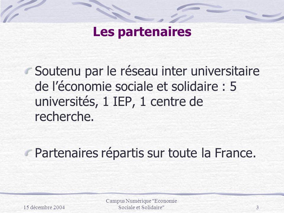 15 décembre 2004 Campus Numérique Economie Sociale et Solidaire 3 Les partenaires Soutenu par le réseau inter universitaire de léconomie sociale et solidaire : 5 universités, 1 IEP, 1 centre de recherche.