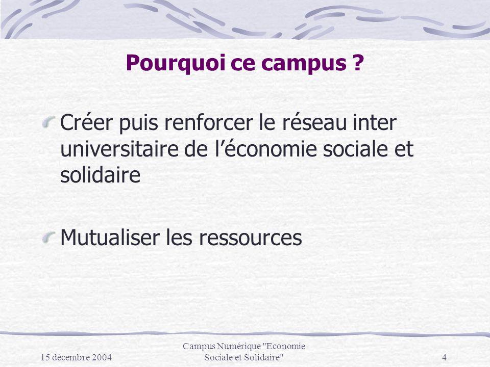 15 décembre 2004 Campus Numérique Economie Sociale et Solidaire 4 Pourquoi ce campus .