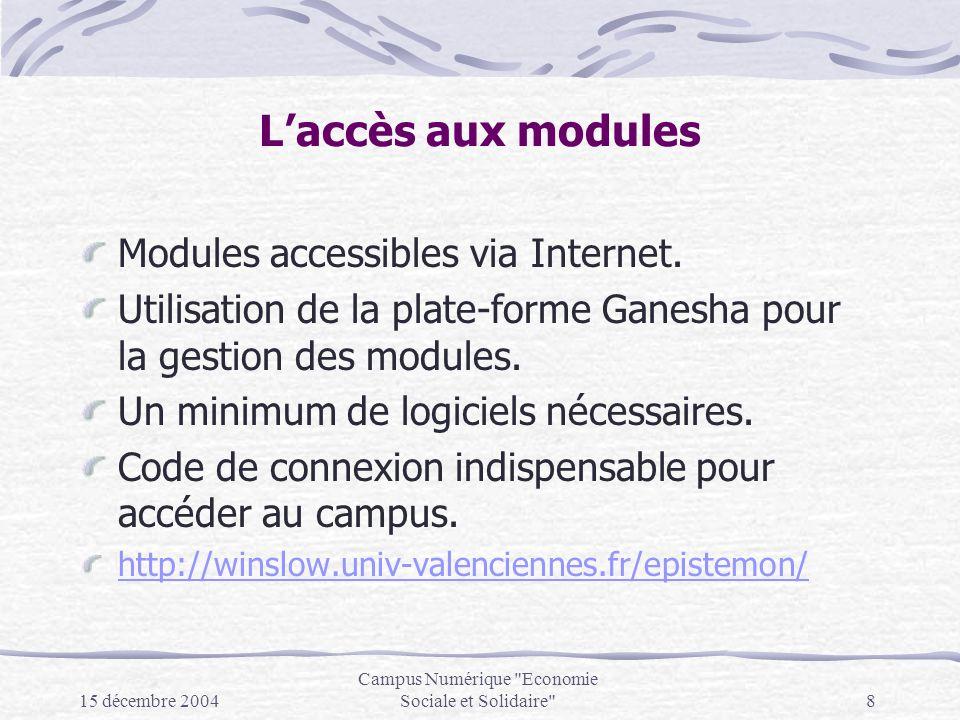 15 décembre 2004 Campus Numérique Economie Sociale et Solidaire 8 Laccès aux modules Modules accessibles via Internet.