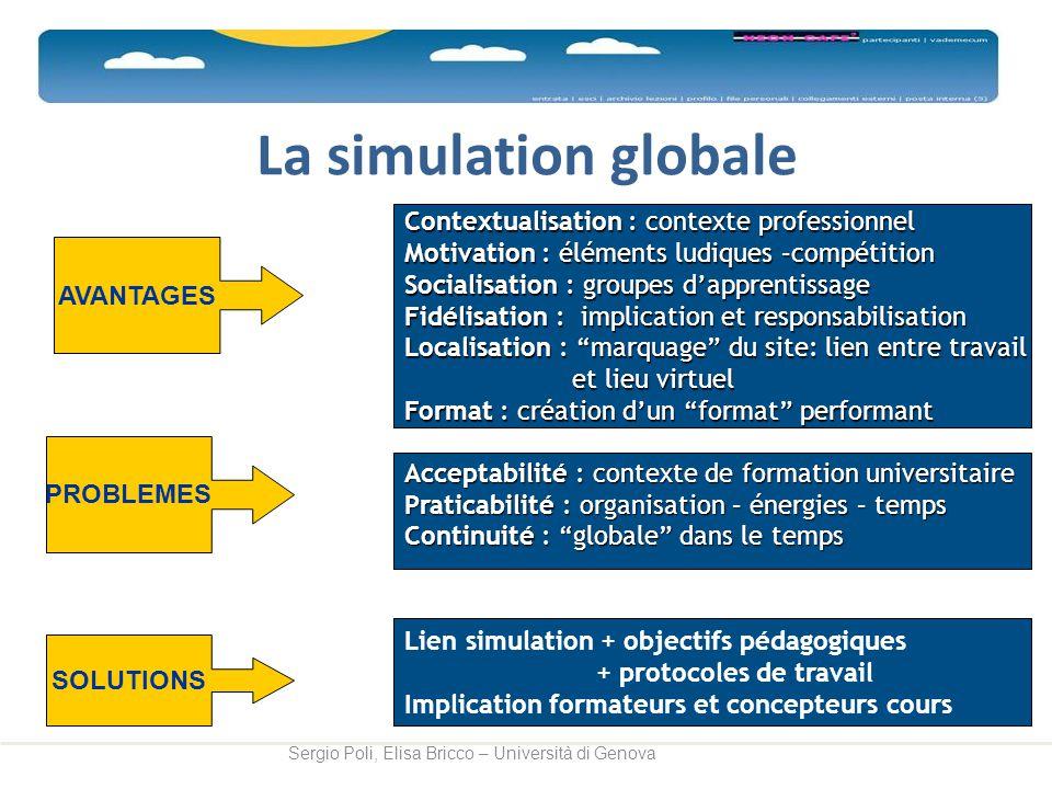 La simulation globale Sergio Poli, Elisa Bricco – Università di Genova Contextualisation : contexte professionnel Motivation : éléments ludiques –comp