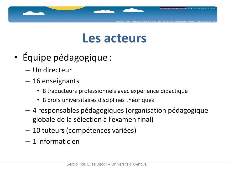Les acteurs Équipe pédagogique : – Un directeur – 16 enseignants 8 traducteurs professionnels avec expérience didactique 8 profs universitaires discip