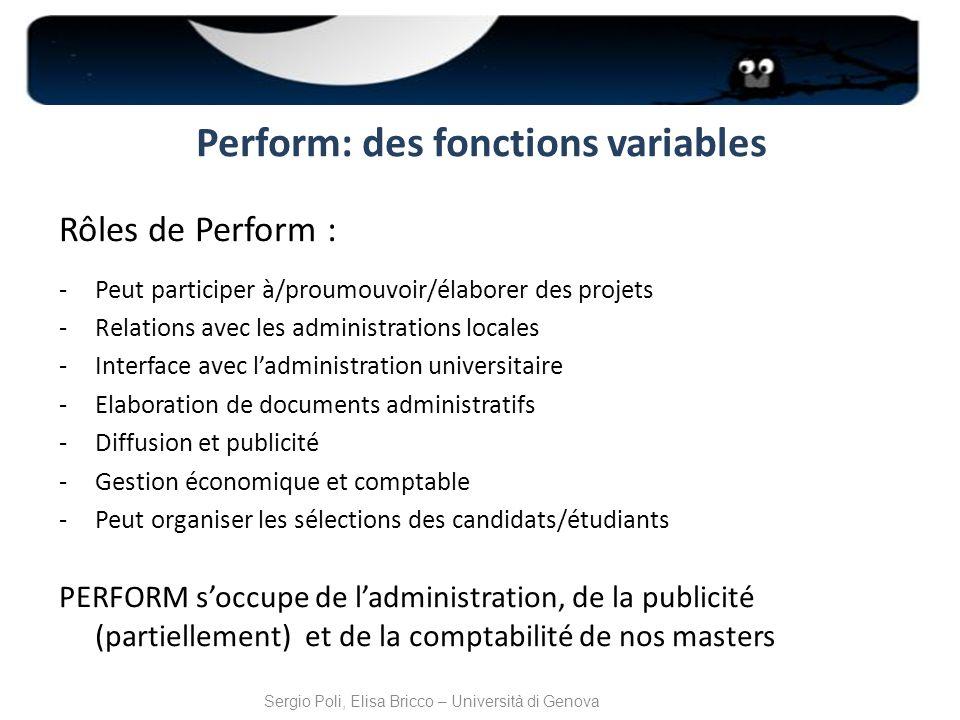 Perform: des fonctions variables Rôles de Perform : -Peut participer à/proumouvoir/élaborer des projets -Relations avec les administrations locales -I