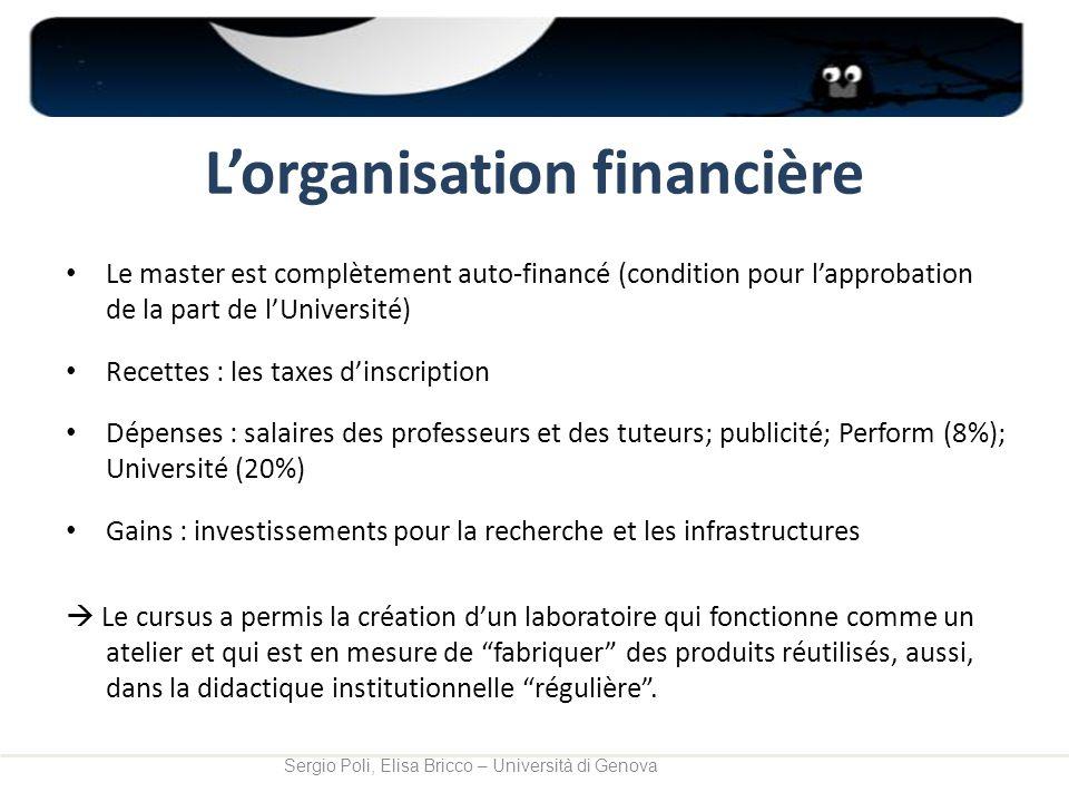 Lorganisation financière Le master est complètement auto-financé (condition pour lapprobation de la part de lUniversité) Recettes : les taxes dinscrip