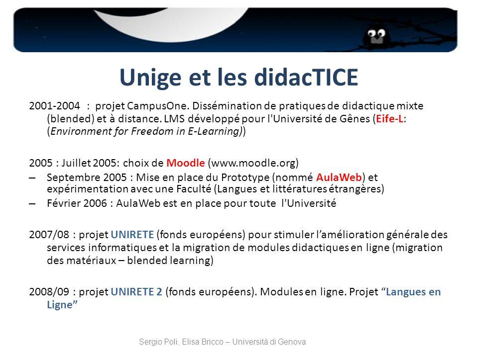 Unige et les didacTICE 2001-2004 : projet CampusOne. Dissémination de pratiques de didactique mixte (blended) et à distance. LMS développé pour l'Univ