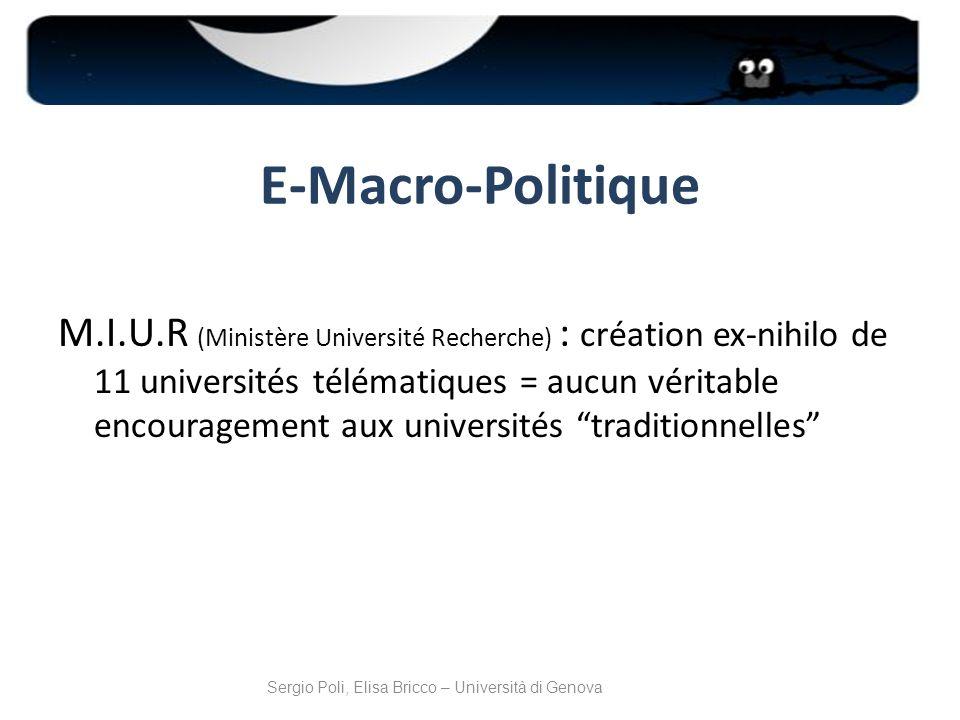 E-Macro-Politique M.I.U.R (Ministère Université Recherche) : création ex-nihilo de 11 universités télématiques = aucun véritable encouragement aux uni
