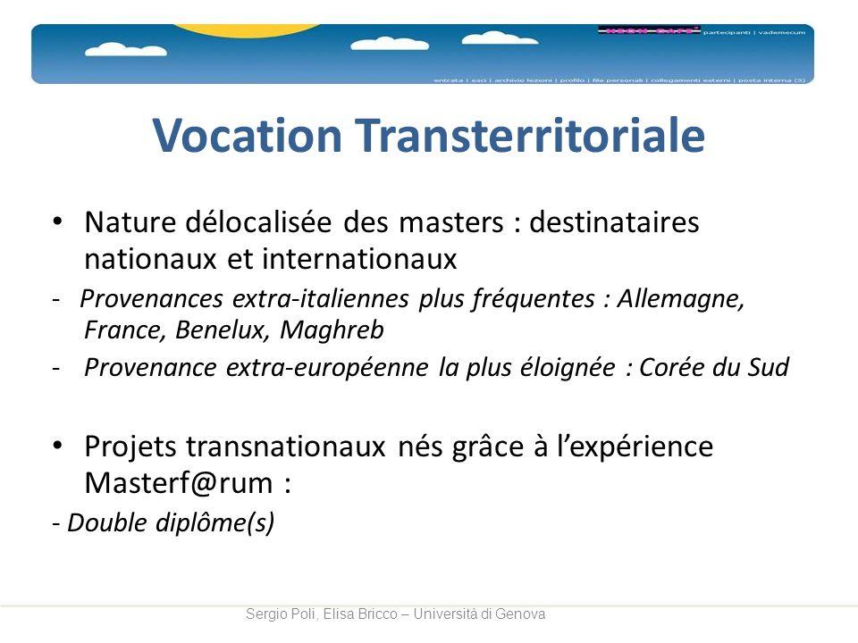 Vocation Transterritoriale Nature délocalisée des masters : destinataires nationaux et internationaux - Provenances extra-italiennes plus fréquentes :