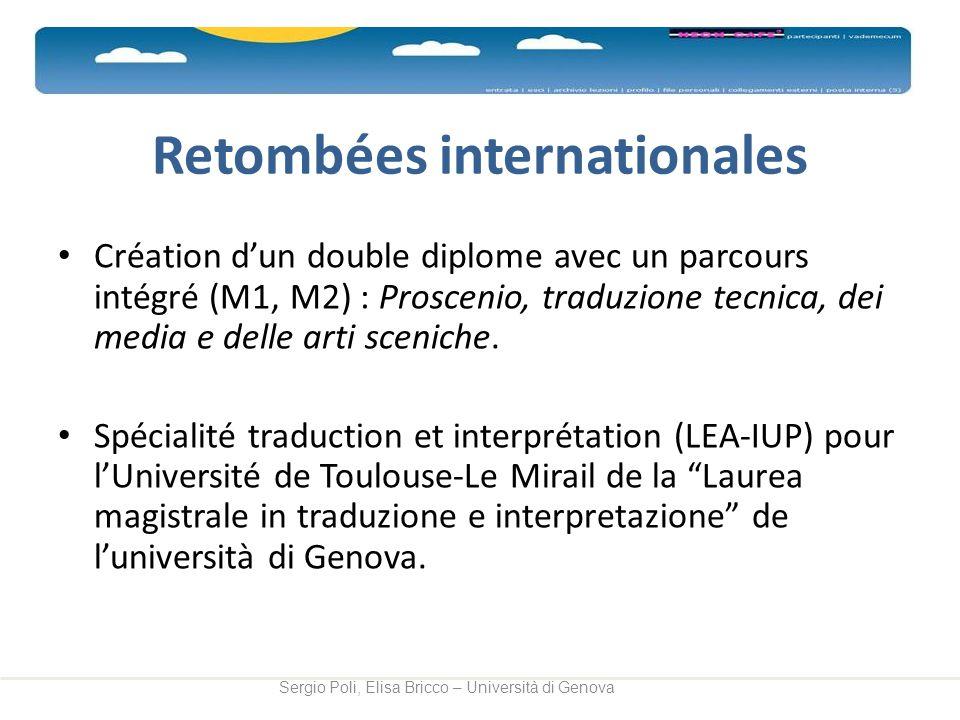 Retombées internationales Création dun double diplome avec un parcours intégré (M1, M2) : Proscenio, traduzione tecnica, dei media e delle arti scenic