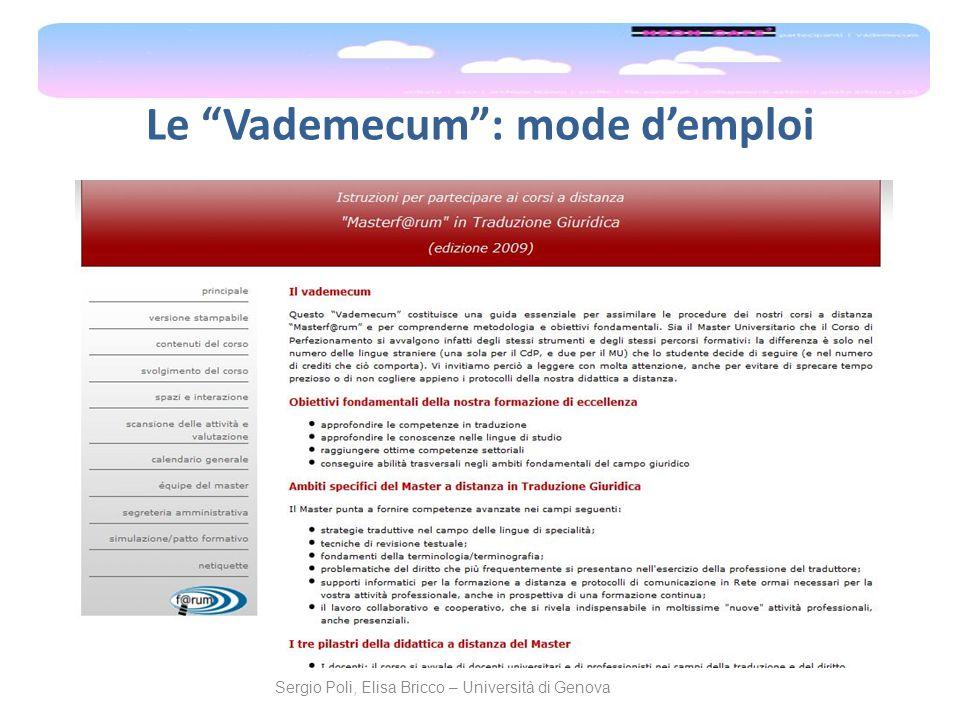 Le Vademecum: mode demploi Sergio Poli, Elisa Bricco – Università di Genova