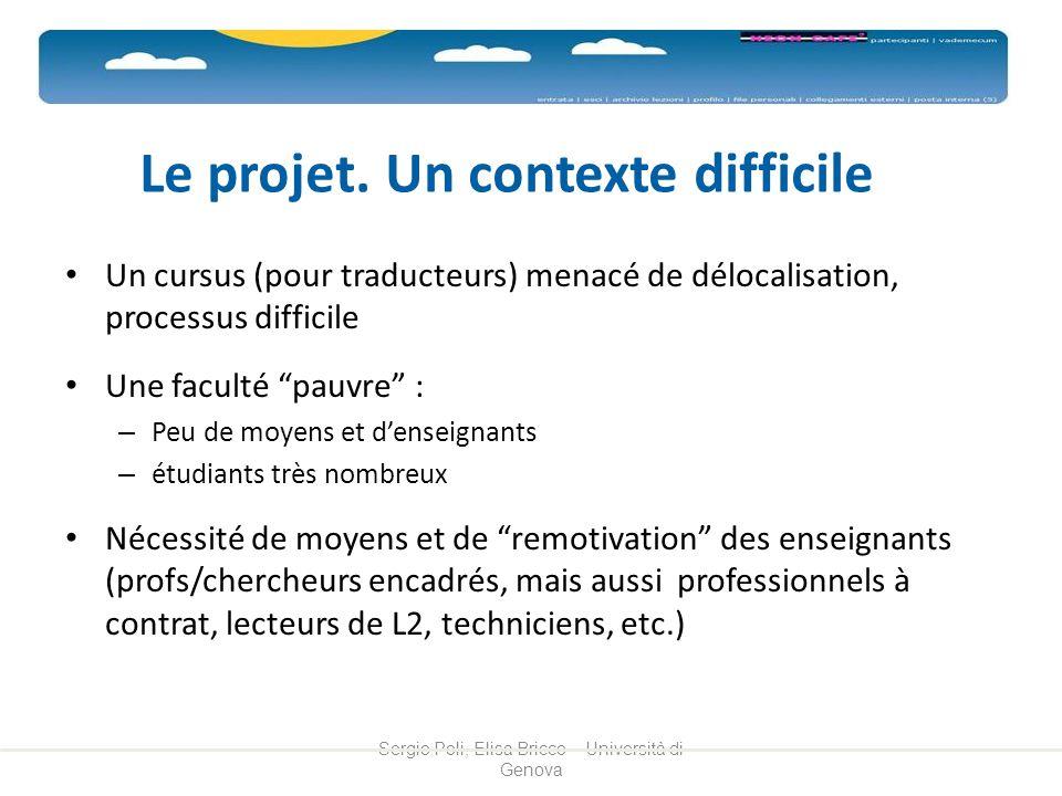 Le projet. Un contexte difficile Un cursus (pour traducteurs) menacé de délocalisation, processus difficile Une faculté pauvre : – Peu de moyens et de