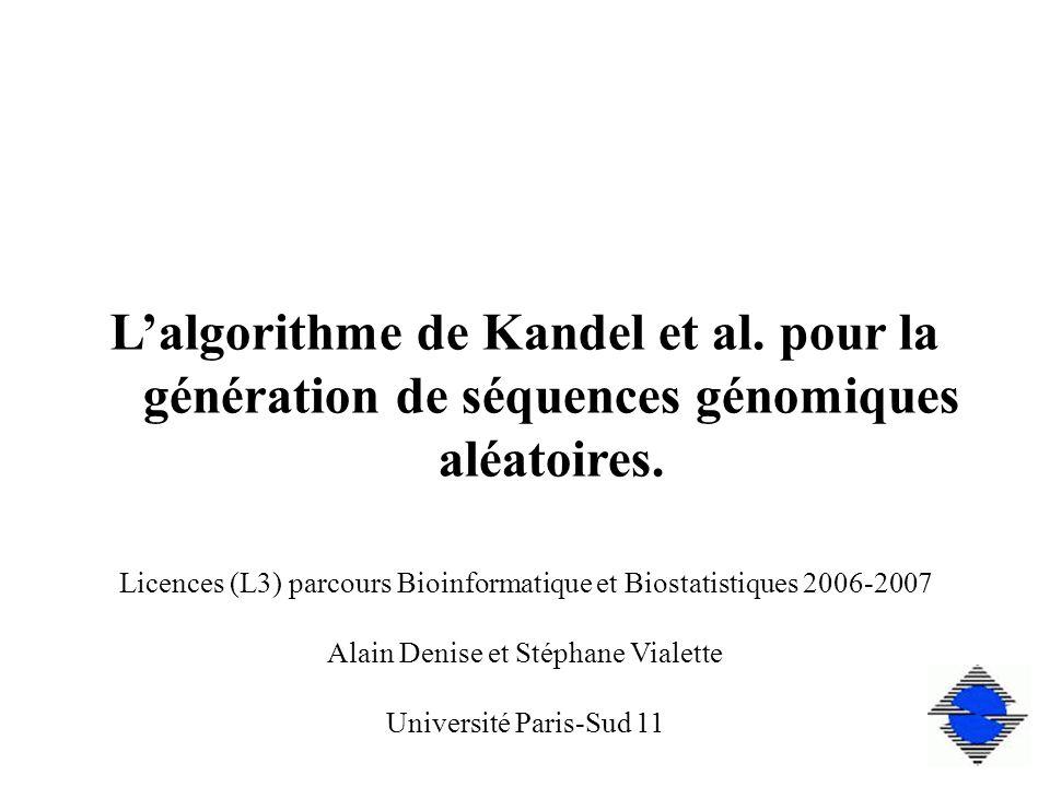 Lalgorithme de Kandel et al. pour la génération de séquences génomiques aléatoires.