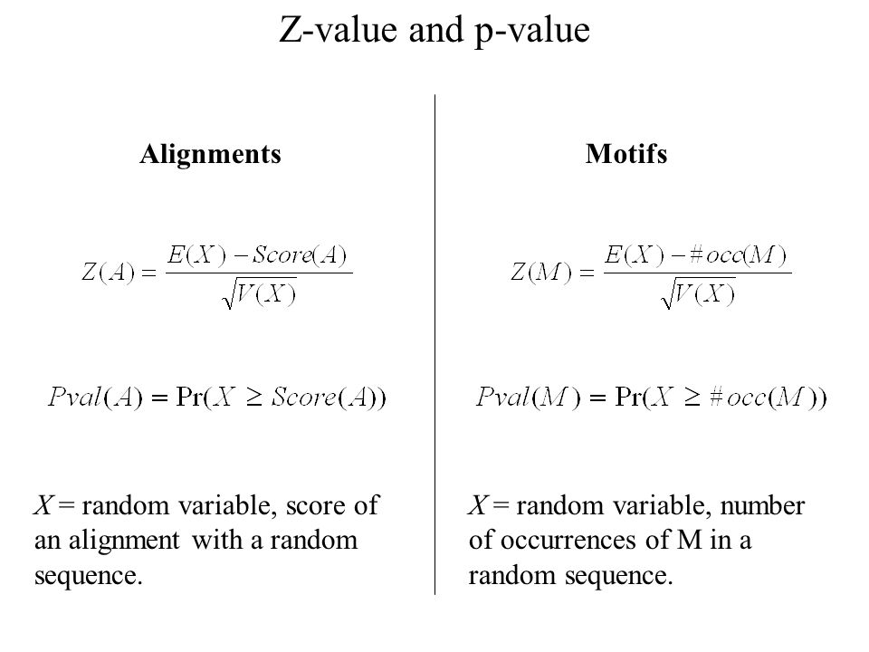 Z-value and p-value X = random variable, score of an alignment with a random sequence.