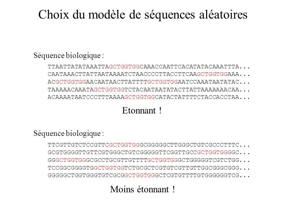 Choix du modèle de séquences aléatoires TTCGTTGTCTCCGTTCGCTGGTGGGCGGGGGCTTGGGCTGTCGCCCTTTC...