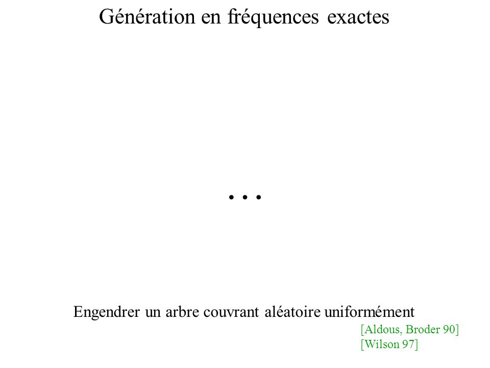 Génération en fréquences exactes … Engendrer un arbre couvrant aléatoire uniformément [Aldous, Broder 90] [Wilson 97]