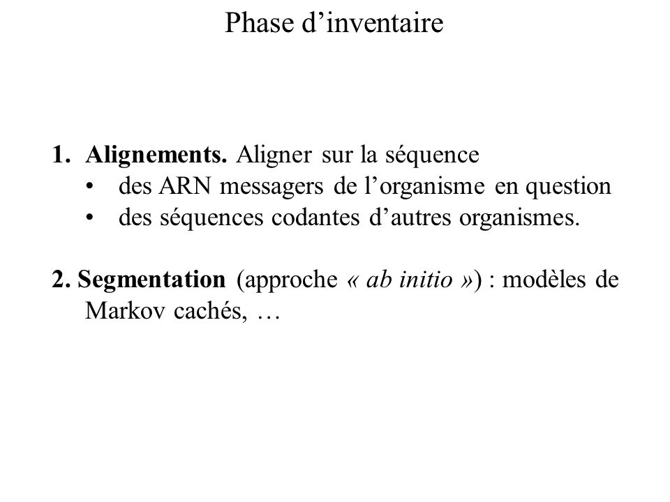 Phase dinventaire 1.Alignements.