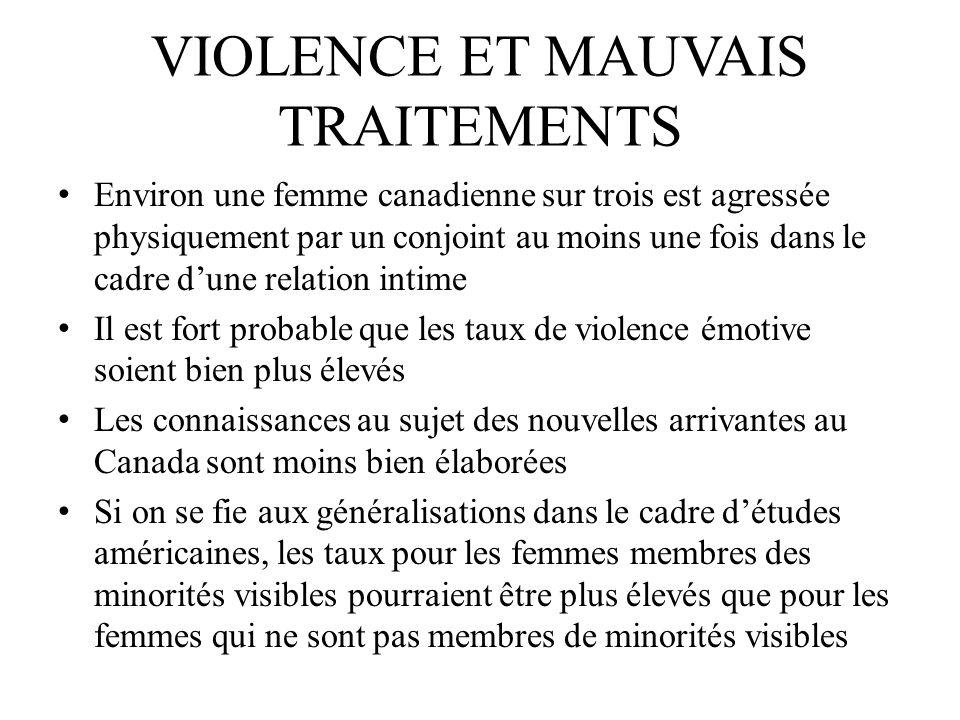 VIOLENCE ET MAUVAIS TRAITEMENTS Environ une femme canadienne sur trois est agressée physiquement par un conjoint au moins une fois dans le cadre dune