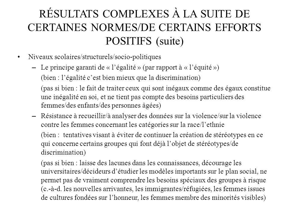 RÉSULTATS COMPLEXES À LA SUITE DE CERTAINES NORMES/DE CERTAINS EFFORTS POSITIFS (suite) Niveaux scolaires/structurels/socio-politiques – Le principe g
