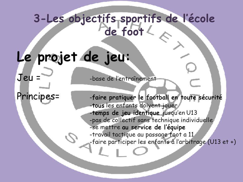 Le projet de jeu: Jeu = -base de lentraînement Principes= -faire pratiquer le football en toute sécurité -tous les enfants doivent jouer -temps de jeu