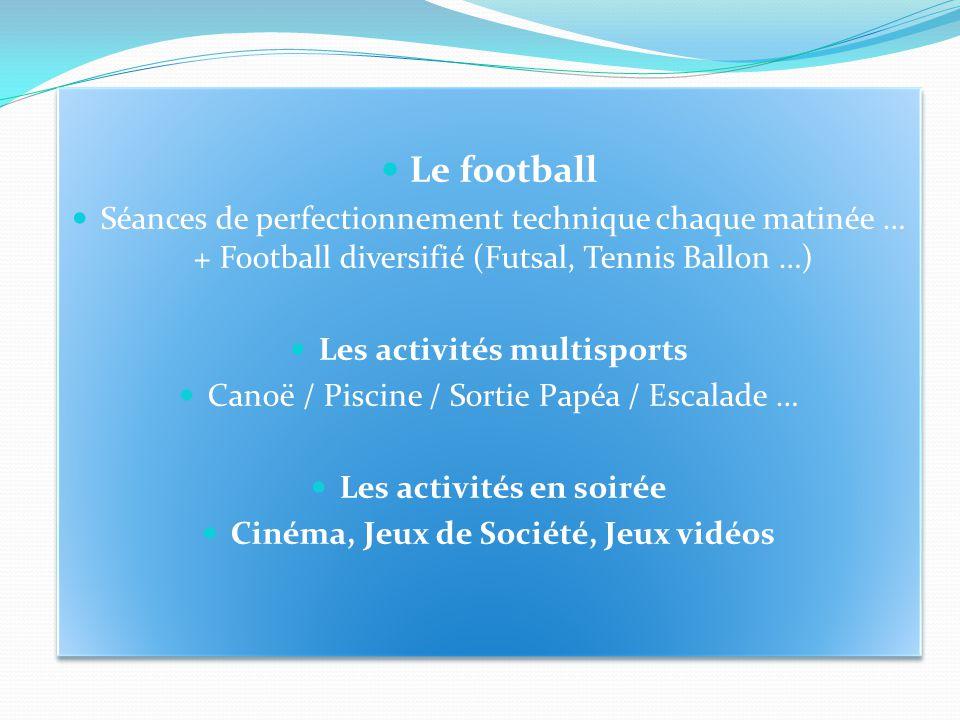 Le football Séances de perfectionnement technique chaque matinée … + Football diversifié (Futsal, Tennis Ballon …) Les activités multisports Canoë / P