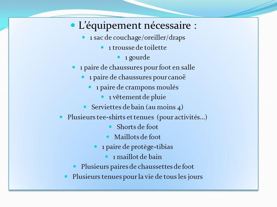 Léquipement nécessaire : 1 sac de couchage/oreiller/draps 1 trousse de toilette 1 gourde 1 paire de chaussures pour foot en salle 1 paire de chaussure