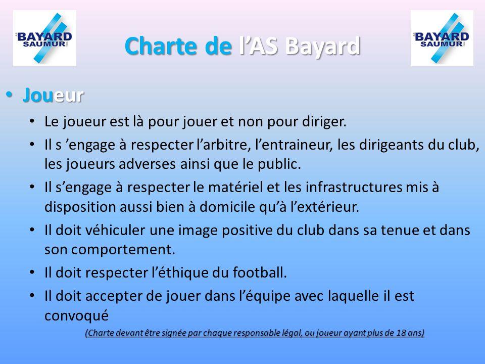 Charte de lAS Bayard Joueur Joueur Le joueur est là pour jouer et non pour diriger.