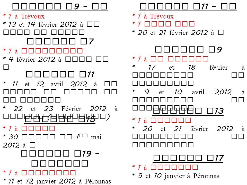 Module U 9 – JC * 1 à Trévoux * 13 et 14 février 2012 à St Jean de niost Module U 11 – JC * 1 à Trévoux * 1 FCBP SSS * 20 et 21 février 2012 à .
