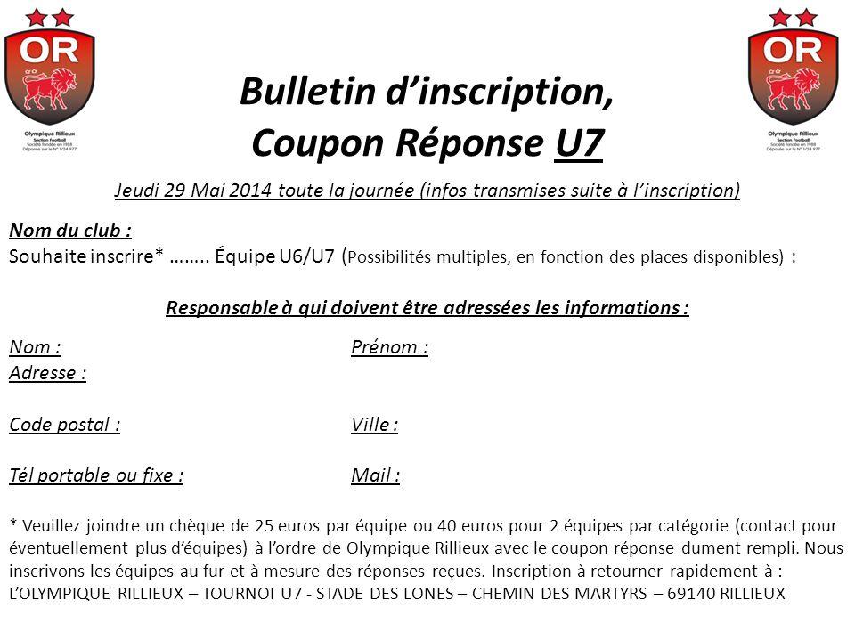 Bulletin dinscription, Coupon Réponse U7 Jeudi 29 Mai 2014 toute la journée (infos transmises suite à linscription) Nom du club : Souhaite inscrire* …