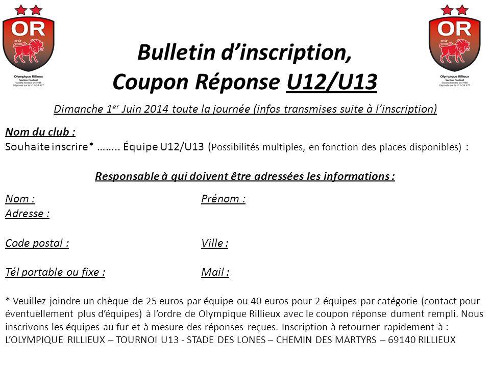Bulletin dinscription, Coupon Réponse U12/U13 Dimanche 1 er Juin 2014 toute la journée (infos transmises suite à linscription) Nom du club : Souhaite