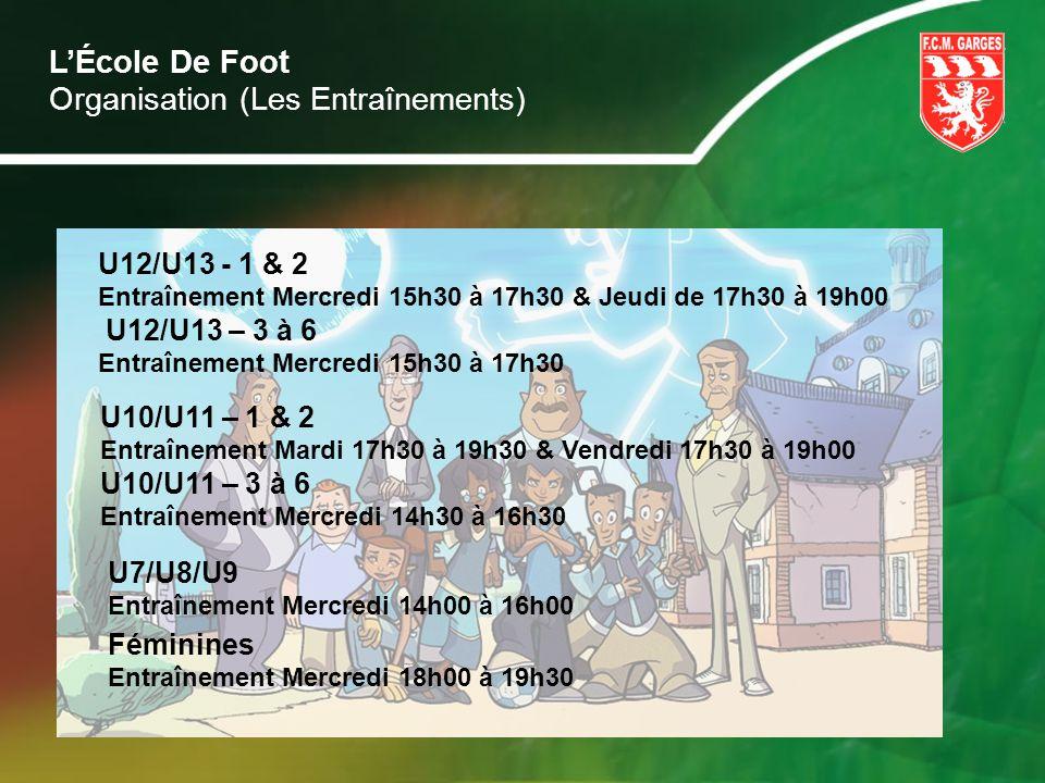 LÉcole De Foot U12/U13 - 1 & 2 Entraînement Mercredi 15h30 à 17h30 & Jeudi de 17h30 à 19h00 U12/U13 – 3 à 6 Entraînement Mercredi 15h30 à 17h30 U10/U1