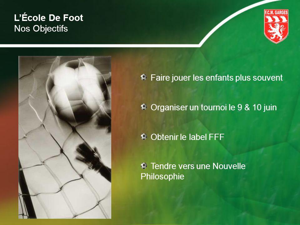 LÉcole De Foot Faire jouer les enfants plus souvent Organiser un tournoi le 9 & 10 juin Obtenir le label FFF Nos Objectifs Tendre vers une Nouvelle Ph