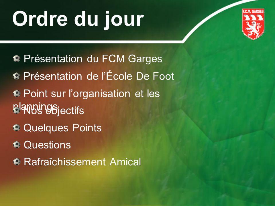 Ordre du jour Présentation du FCM Garges Présentation de lÉcole De Foot Point sur lorganisation et les plannings Nos objectifs Quelques Points Questio