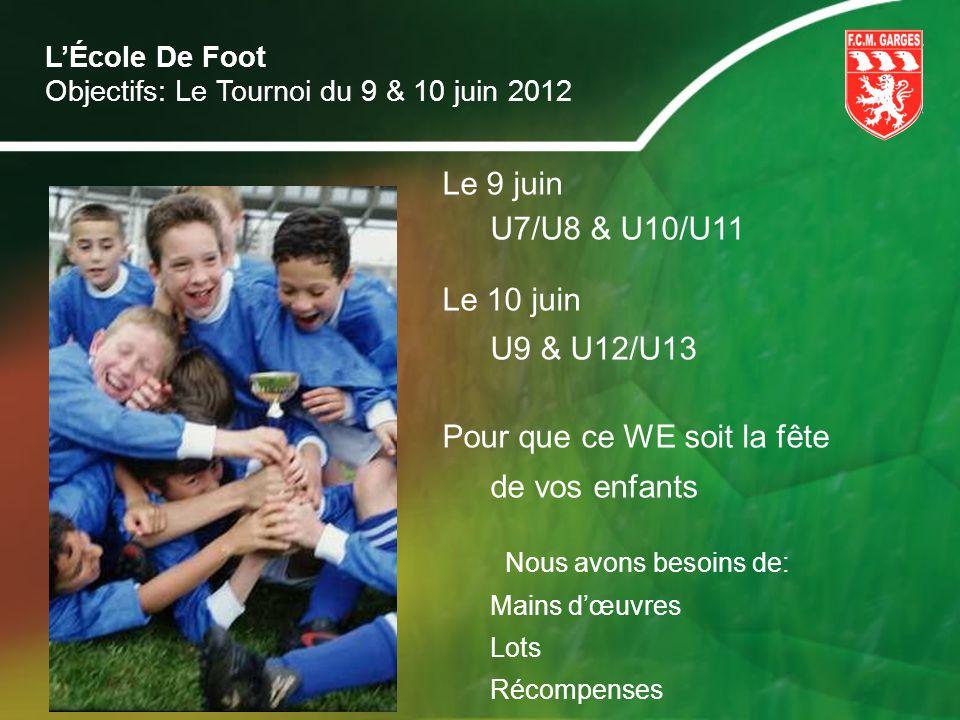 LÉcole De Foot Objectifs: Le Tournoi du 9 & 10 juin 2012 Le 9 juin U7/U8 & U10/U11 Le 10 juin U9 & U12/U13 Pour que ce WE soit la fête de vos enfants