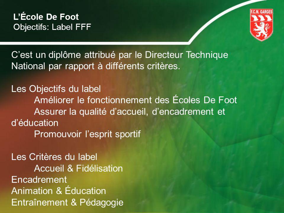 LÉcole De Foot Objectifs: Label FFF Cest un diplôme attribué par le Directeur Technique National par rapport à différents critères. Les Objectifs du l