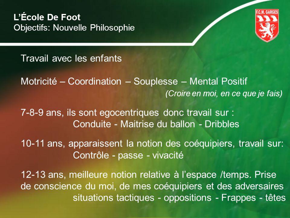 LÉcole De Foot Objectifs: Nouvelle Philosophie Travail avec les enfants Motricité – Coordination – Souplesse – Mental Positif (Croire en moi, en ce qu