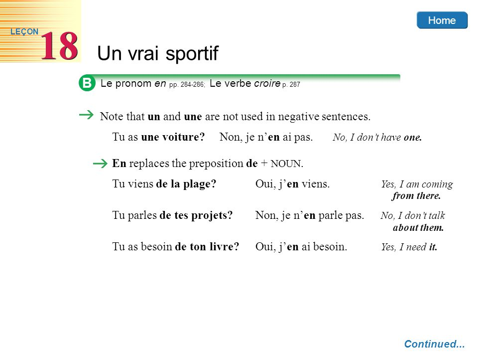 Home Un vrai sportif 18 LEÇON B Le pronom en pp.284-286; Le verbe croire p.