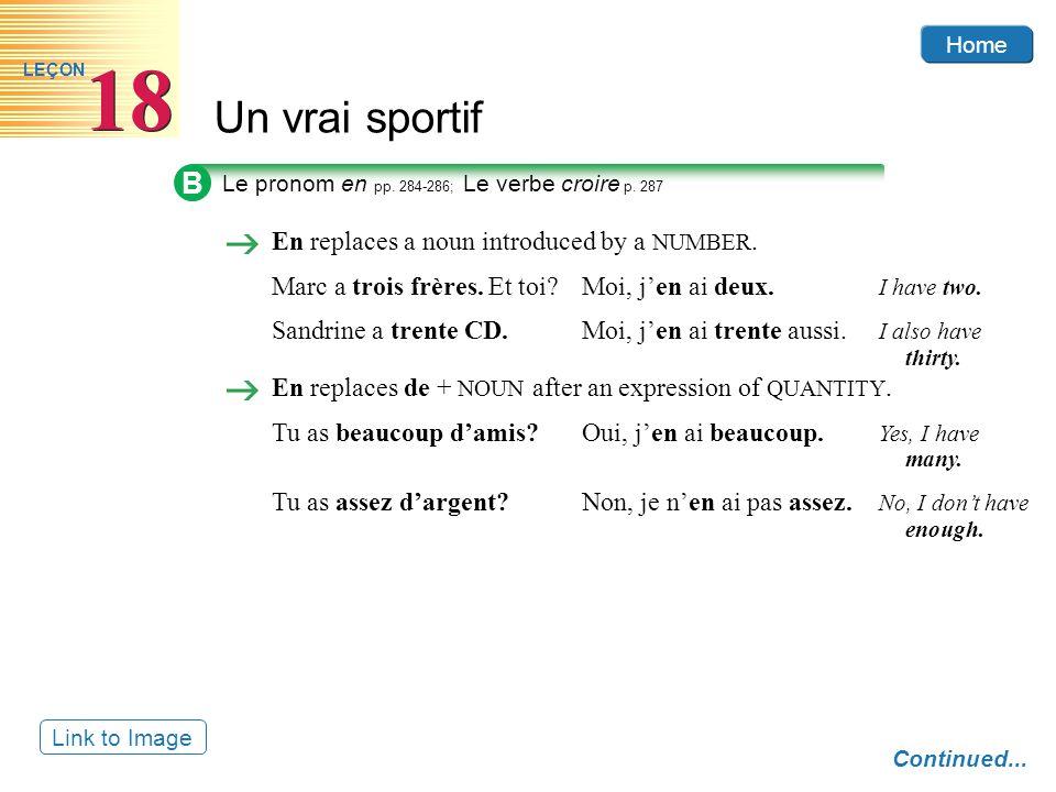 Home Un vrai sportif 18 LEÇON Link to Image B Le pronom en pp.