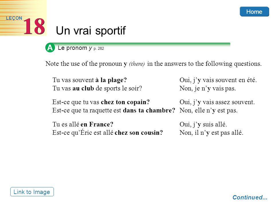 Home Un vrai sportif 18 LEÇON A Le pronom y p.