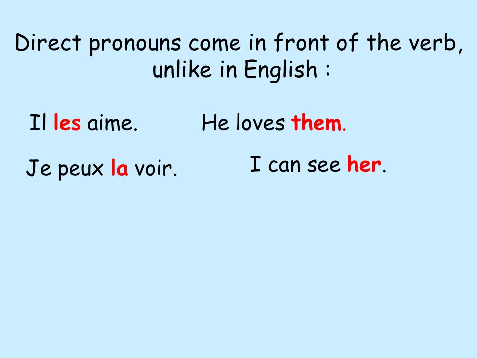 Direct pronouns come in front of the verb, unlike in English : Il les aime.He loves them.