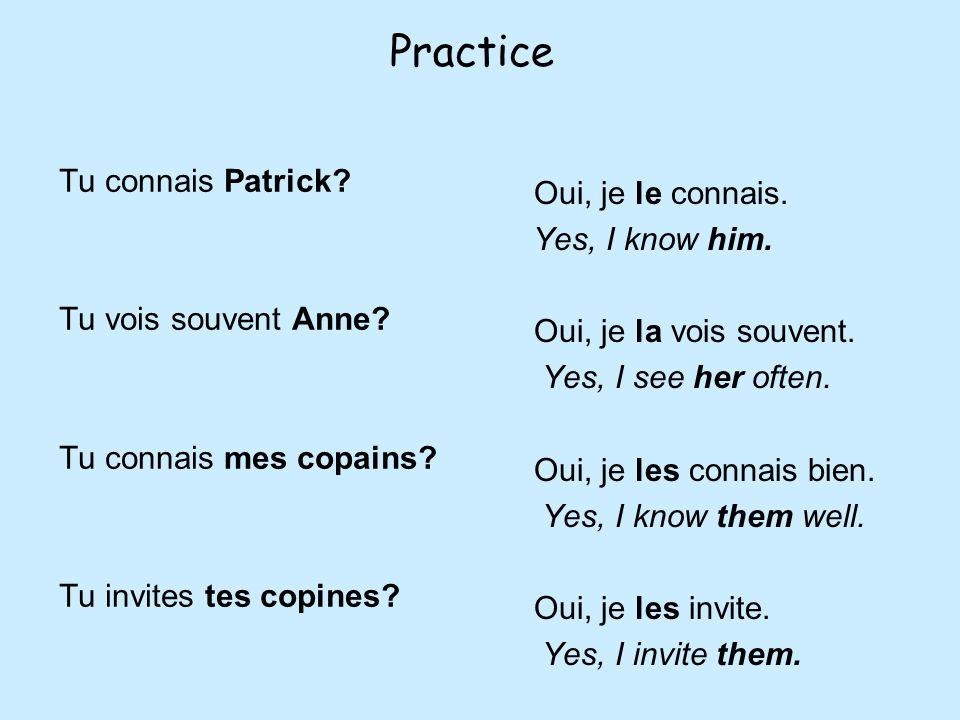 Practice Tu connais Patrick.Tu vois souvent Anne.