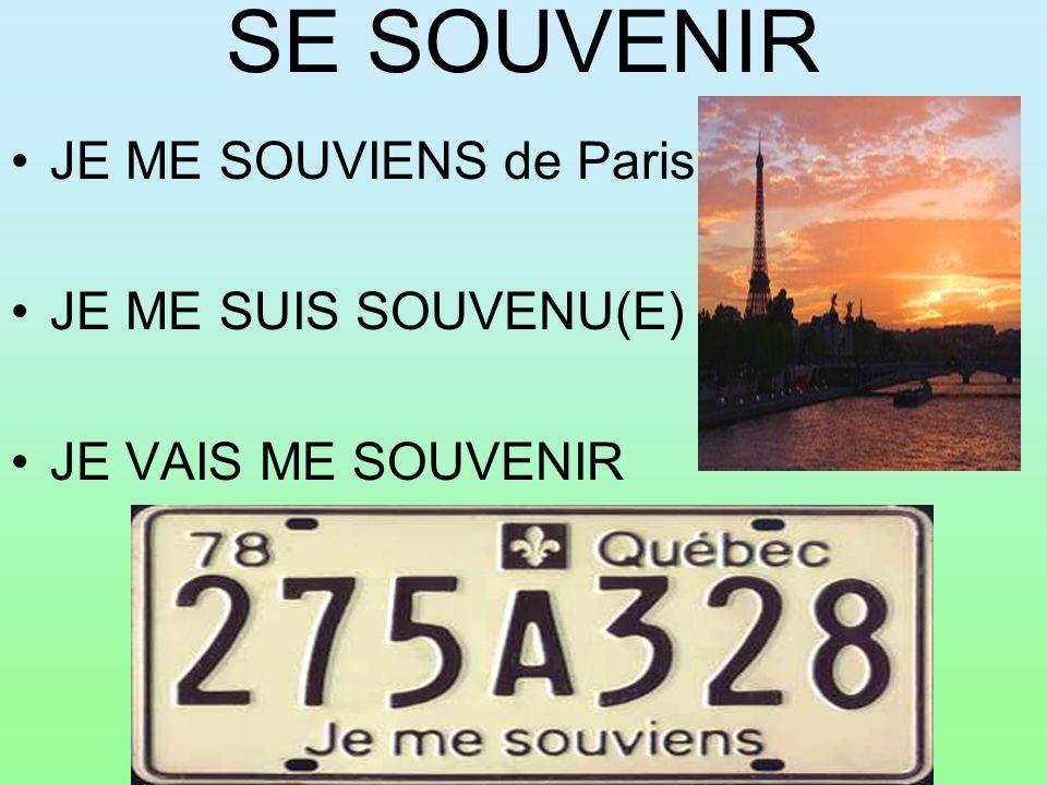 SE SOUVENIR JE ME SOUVIENS de Paris JE ME SUIS SOUVENU(E) JE VAIS ME SOUVENIR