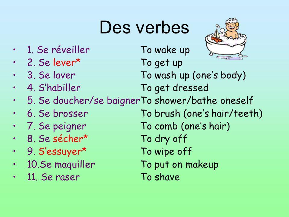 Des verbes 1. Se réveiller 2. Se lever* 3. Se laver 4. Shabiller 5. Se doucher/se baigner 6. Se brosser 7. Se peigner 8. Se sécher* 9. Sessuyer* 10.Se